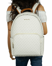 NWT MICHAEL KORS ERIN LARGE BACKPACK PVC LEATHER VANILLA (LAPTOP WILL FIT)