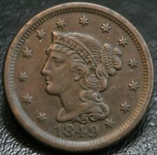 1849 Braided Hair Large Cent AU Almost Uncirculated 1C Early Copper Type Coin