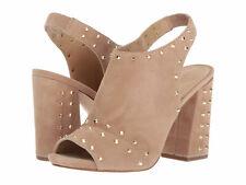 Michael Kors Astor Dk Khaki Suede Beige Studded Open Toe Block Heels Boot 6.5 M