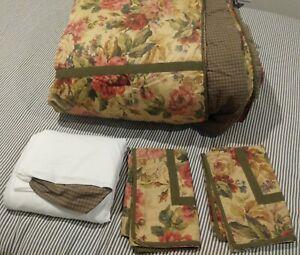 Chaps Ralph Lauren ROSEMONT Queen Comforter Bed Skirt Ruffle 2 Shams SET Cottage