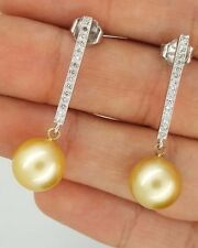 14K WHITE GOLD DROP DIAMOND & GOLDEN YELLOW SOUTH SEA PEARL STUD EARRINGS 11mm