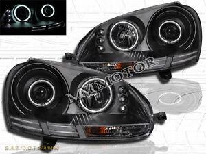 06-09 VW RABBIT JETTA DUAL CCFL HALO RIMS BLACK PROJECTOR HEADLIGHTS