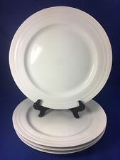 Fairwinds SOHO SPIRIT All White DINNER PLATES Embossed Rings on Rim SET OF 4
