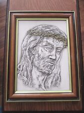Carved Relief Resin Jesus w Crown of Thorns Framed Picture Made Italy DETAILED