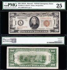 VERY NICE Bold & Crisp VF+ 1934 A $20 HAWAII Fed Reserve Note! PMG 25! L60591367