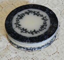 More details for antique doulton burslem flo-blue 'figaro' round shallow lidded box/container