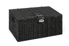 Hamper Storage Basket Black Medium Resin Woven Box With Lid & Lock