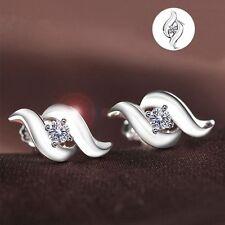 Crystal Women Korean Style Retro Ear Studs Earrings Rhinestone Silver Plated