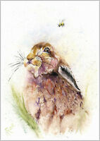 HELEN APRIL ROSE Limited Print HARE and BEE insect art watercolour  328