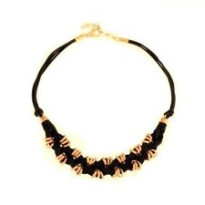 """Cord Station Necklace Qvc $103.00 Bronzo Italia Yellow Bronze 18"""" Knotted"""
