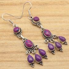 Turquoise Mulstistone Art Large Earrings 925 Silver Plated Purple Copper