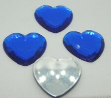 4 pc.-35mm Heart Bead Flat Back Glue-on Scrapbook For Craft-Royal Blue (H006)