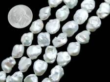 10*14mm Flat Baroque White Natural Pearl Bead for Jewelr Making Strands 14''-785