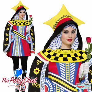 QUEEN OF HEARTS PLAYING CARD COSTUME Casino Alice Fancy Dress Outfit 76830
