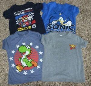 Old Navy XS 5 Yoshi Mario Kart Pac Man Sonic Boys Lot of Short Slv Tees