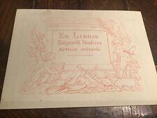 Antique Ex Libris BOOKPLATE artist EDGARDO RODINA litho art print