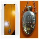 Old Victorian Sterling Silver Perfume Bottle Slide  Necklace w Jewel Fob Clasp