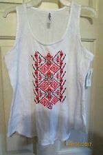 NWT HI-LO BOBBIE BROOKS SIZE EXTRA LARGE SLEEVELESS CRINKLED EMBROIDED TOP