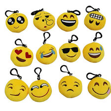 Stuffed Plush Toy Key Chain Emoticon Yellow Soft Cushion Keyring FA