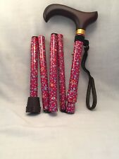 Folding Adjustable Cane Walking Stick Red Floral Pattern Brown Derby Handle NIP
