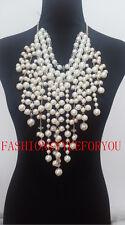 Fashion Style PE14 Women White Imitation Pearls Necklace Unique Beads Body Chain