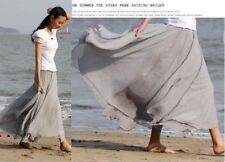 UK Women Beach Party Chiffon Pleated Long Maxi Skirt Dress Grey