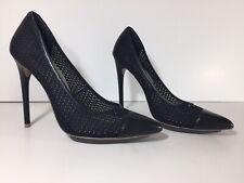 BCBG MAXAZRIA Black Leather And Net Mesh Kassia Pumps Size 9 Ultra High Heels