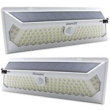2 Pack 120 LED Solar Power Motion Sensor Wall Light Outdoor Garden Lamp White