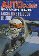 AUTO HEBDO n°45 du 13 Janvier 1977 GP MONACO F1 F3 R5 ALPINE COUPE et R5 COUPE
