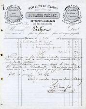 Dépt 33 - BORDEAUX - Manufacture d'Armes de Luxe Ducasse Frères du 05/08/1868