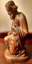 Antique Santos Sculpture Hand Carved Wooden Saint Statue Nativity Figure Italy