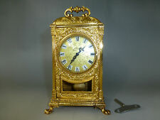 ANTIQUE GERMAN GOLD GILT CASE CHIMING MECHANICAL CARRIAGE SWING PENDULUM CLOCK