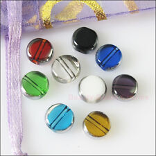 15Pcs Mixed Silver Edge Glass Round Flat Spacer Beads Charms 10mm