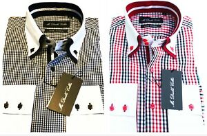MENS STRIKING CHECKERED SHIRT BLACK & RED OPTION DOUBLE COLLAR - LIMITED EDITION