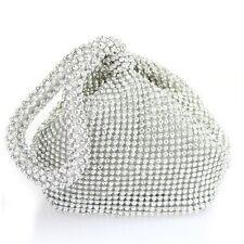 Nuevo Cristal Plata Diamante Noche Bolsa De Embrague De Cartera De Fiesta Boda Prom Bolsa