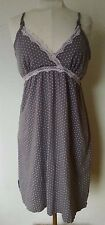 Belabumbum Nursing Nightgown XL Spaghetti Straps Gray Pink Dottie Full Sling