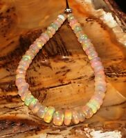 "8.23 TCW NATURAL ETHIOPIAN WELO FIRE OPAL  ROUNDEL BEADS 4""DEMI STRAND S6335"