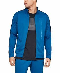 Under Armour Mens Jacket Blue Black Size 2XL Track Full-Zip Logo $60 #061