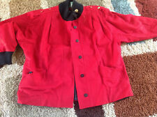 Size 22W Wool Swing-Coat Fall Red w/ Black Trim Gold Button Shoulders Full Lined