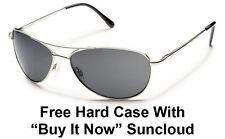 Suncloud Patrol Sunglasses - Silver Aviator w/Grey Polarized  + Free Hard Case