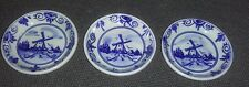 Delft Blue Souvenir Three (3) Miniature 2.25 Inch Hand Painted Plates