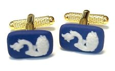 Authentic Rectangular Wedgwood Jasperware Cameos On Gold Plated Cufflinks