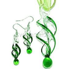 Green Swirl Handmade Lampwork Murano Glass Pendant Ribbon Necklace Earrings Set