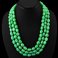 845.00 CTS EARTH MINED 3 STRAND GREEN EMERALD CARVED BEADS NECKLACE - BIG DEAL