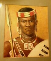 Watercolor by Hubert Whatley of African male in tribal dress, spear, and shield