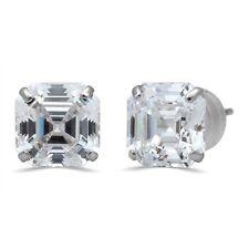 Jewelili 10kt White Gold 7mm Princess Asscher Cut Cubic Zirconia Earrings