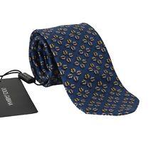 NEW $200 DOLCE & GABBANA Tie Blue 100% Silk Gray Ladybug Print Classic Necktie