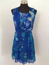 Lavand M Tea Dress Shift Multi Blue Turquoise White Floral Sleeveless Spring