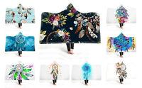 Watercolor Dream Catcher Feathers Flower Adult Kids Fleece Hooded Blanket Throw