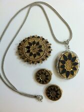 Vintage Florenza Silver Gold Black Necklace Brooch Earrings Fabulous!